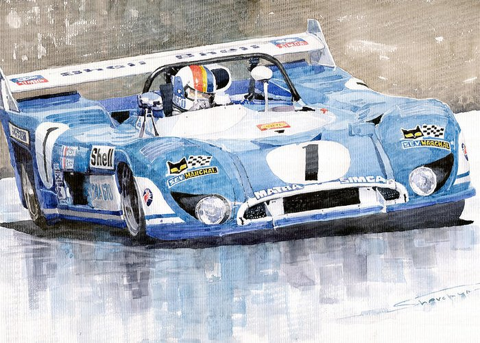 Watercolor Greeting Card featuring the painting Matra Simca 670 Francois Cevert by Yuriy Shevchuk