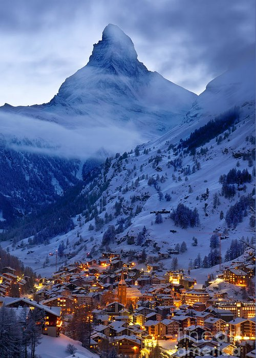 Dusk Greeting Card featuring the photograph Matterhorn At Twilight by Brian Jannsen