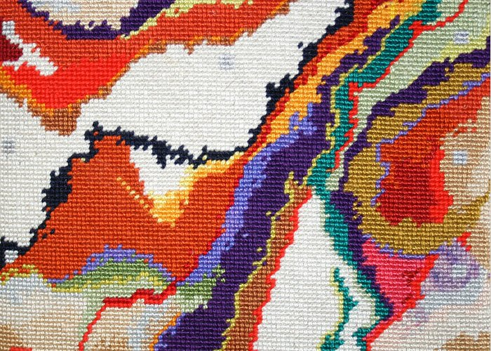 Needlepoint Greeting Card featuring the tapestry - textile Mauna Loa by Connie Pickering Stover