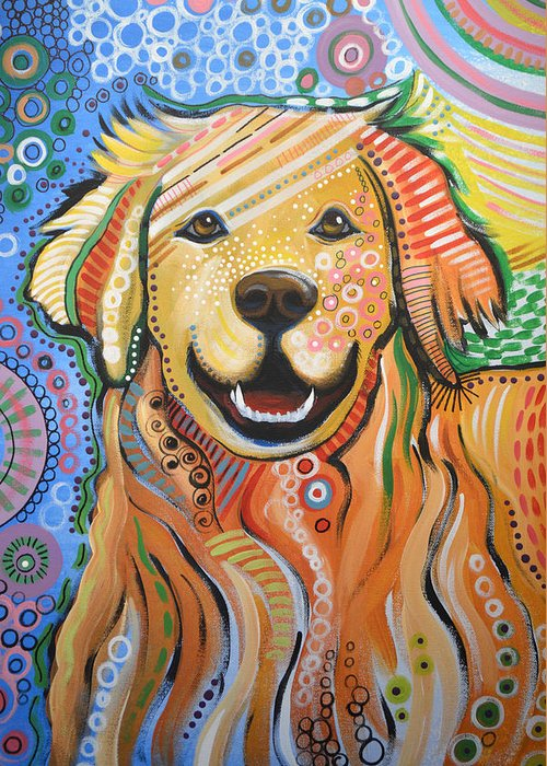 Dog Greeting Card featuring the painting Max ... Abstract Dog Art...golden Retriever by Amy Giacomelli