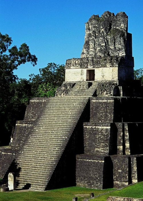 Guatemala Greeting Card featuring the photograph Mayan Ruins - Tikal Guatemala by Juergen Weiss