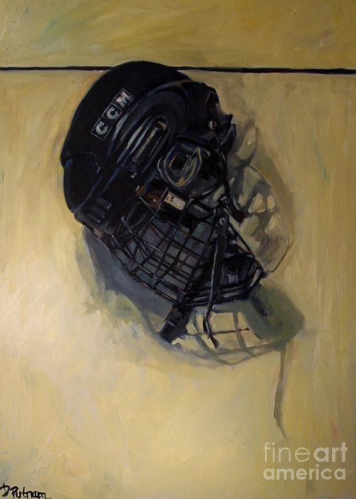 Hockey Greeting Card featuring the painting Maybe Next Year by Deb Putnam