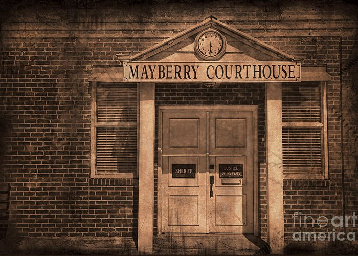 Andy Griffith Greeting Card featuring the photograph Mayberry Courthouse by David Arment