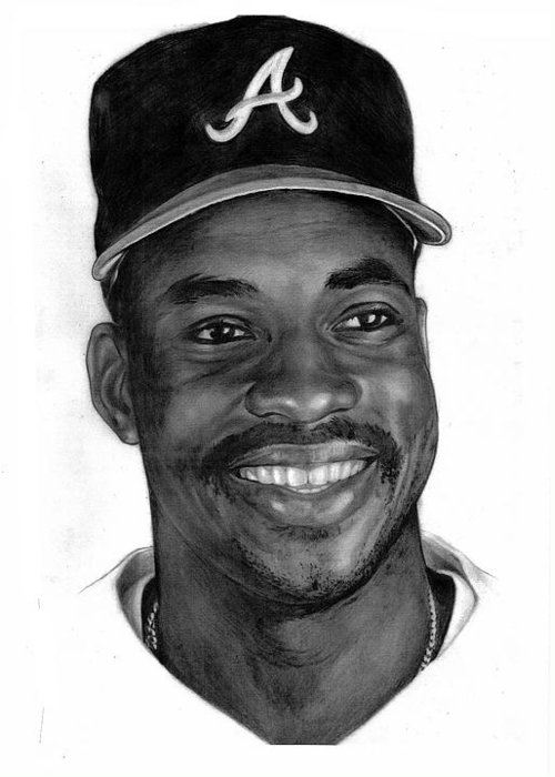 Baseball Greeting Card featuring the drawing Mcgriff by Harry West