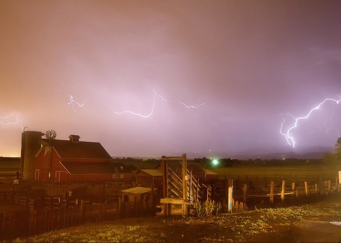 Lightning Greeting Card featuring the photograph Mcintosh Farm Lightning Thunderstorm View by James BO Insogna