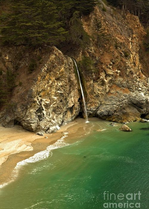 Mcway Falls Greeting Card featuring the photograph Mcway Into The Pacific by Adam Jewell