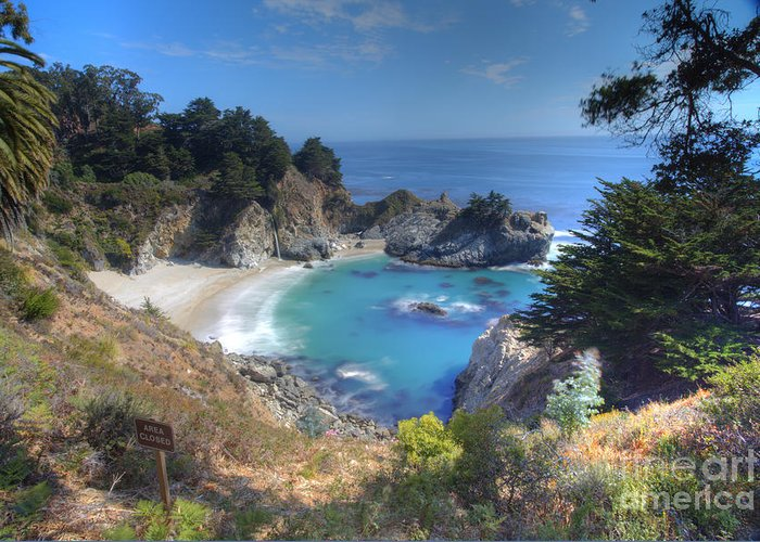 Mc Way Falls In Pfeiffer Beach Greeting Card featuring the photograph Mcway Falls by Marco Crupi