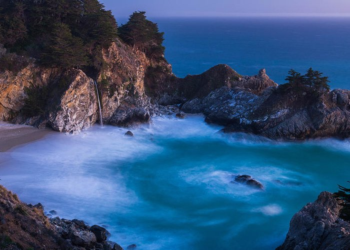 Big Sur Greeting Card featuring the photograph Mcway Falls Sunset by About Light Images