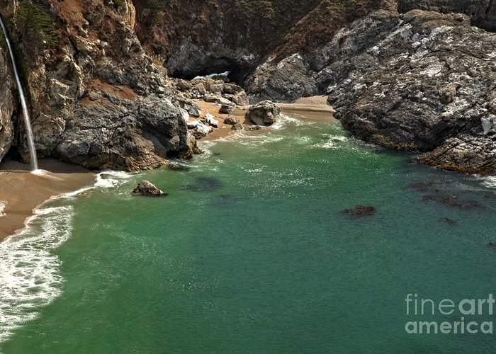 Mcway Falls Greeting Card featuring the photograph Mcway Into The Bay by Adam Jewell