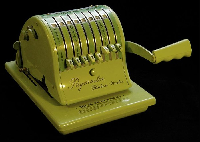 Mid-century Greeting Card featuring the photograph Mechanical Check Embosser by Zoltan Spitzer
