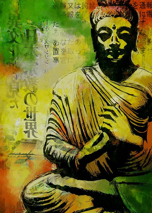 Corporate Art Task Force Greeting Card featuring the painting Meditating Buddha by Corporate Art Task Force