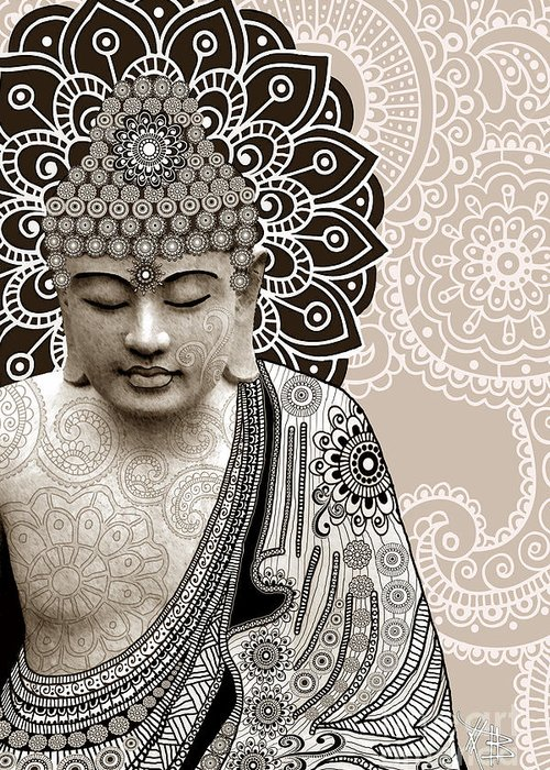 Buddha Greeting Card featuring the digital art Meditation Mehndi - Paisley Buddha Artwork - Copyrighted by Christopher Beikmann
