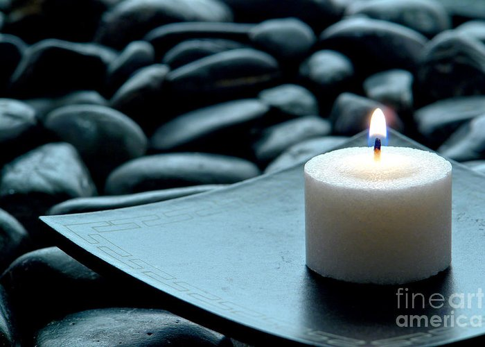 Candle Greeting Card featuring the photograph Meditation by Olivier Le Queinec