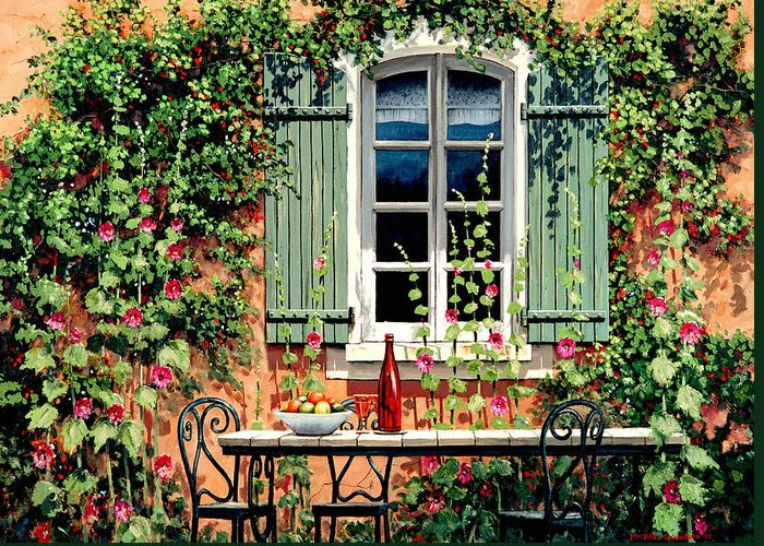French Window Greeting Card featuring the painting Mediterranean Memories - Oil by Michael Swanson