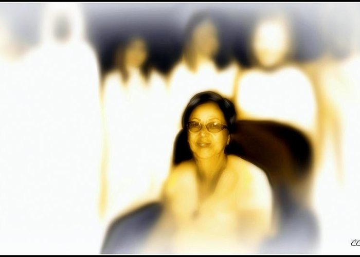 Black And White Greeting Card featuring the photograph Medium And Spirit Guides by Carmen Cordova