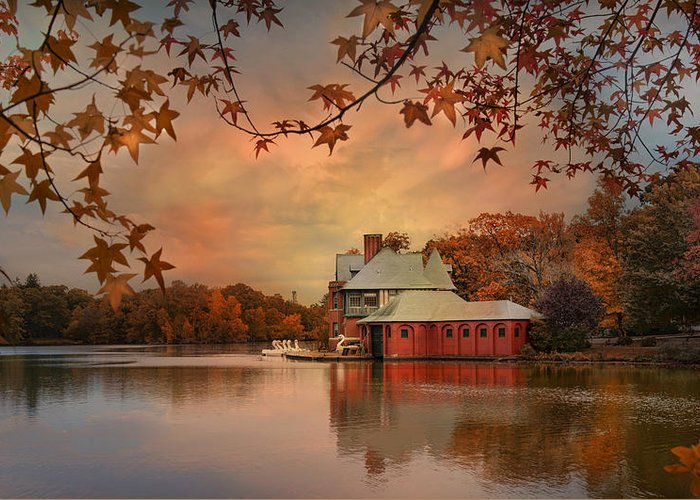 Boathouse Greeting Card featuring the photograph Meeting At The Lodge by Robin-lee Vieira