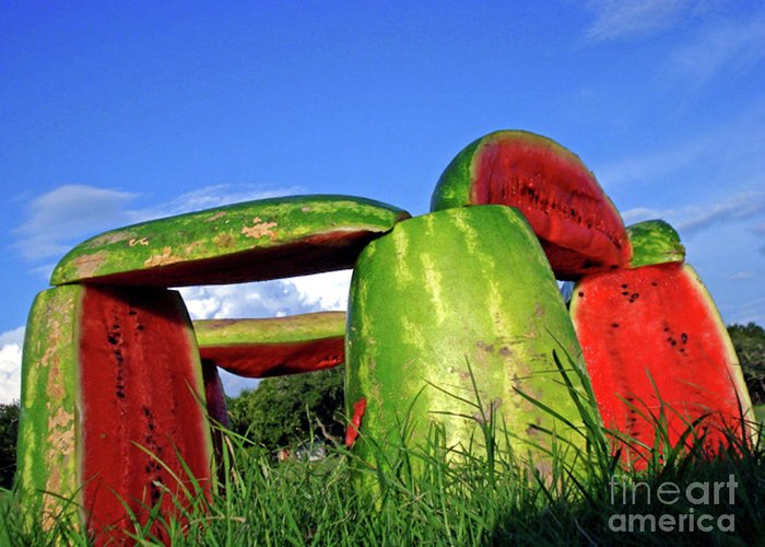 Funny Watermelon Print Greeting Card featuring the photograph Melonhenge by Joe Jake Pratt