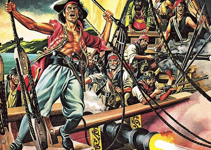 Pirates; Sailing; Ships; Blackbeard; Henry Morgan; Captain Kidd; Roman; Julius Caesar; Vikings; Barbary Pirates; Mediterranean; America; Spain; Pierre Le Grande; Caribbean; Spanish Main Greeting Card featuring the painting Men Of The Jolly Roger by Ron Embleton