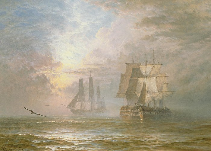Seagulls Greeting Card featuring the painting Men Of War At Anchor by Henry Thomas Dawson