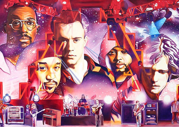 Dave Matthews Band Greeting Card featuring the painting Mercy by Joshua Morton