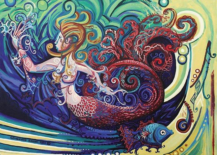 Mermaid Greeting Card featuring the painting Mermaid Gargoyle by Genevieve Esson
