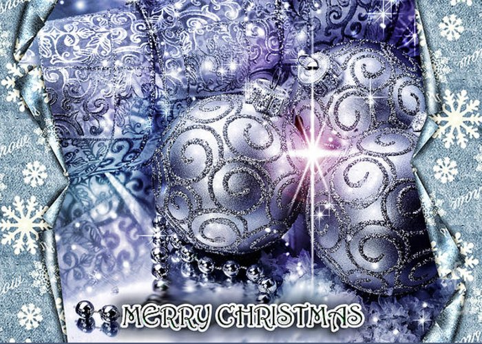 Merry Christmas Greeting Card featuring the digital art Merry Christmas Blue by Mo T