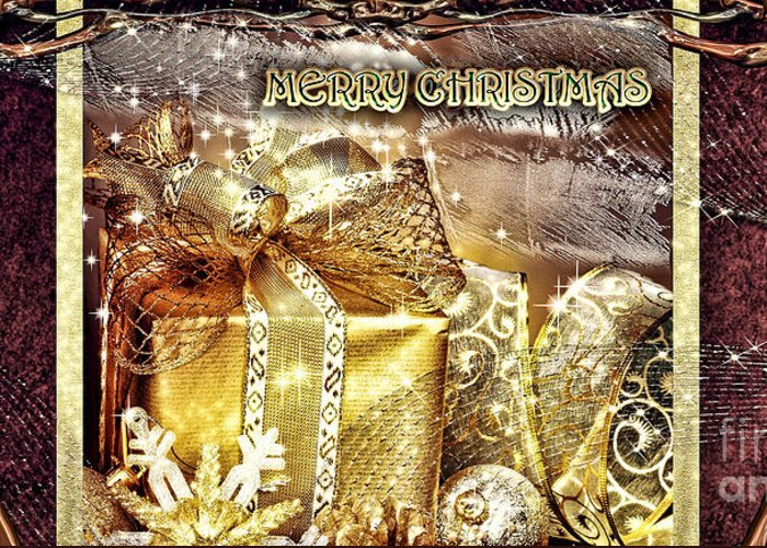 Merry Christmas Greeting Card featuring the digital art Merry Christmas Gold by Mo T
