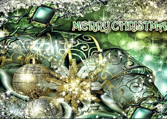 Merry Christmas Greeting Card featuring the digital art Merry Christmas Green by Mo T