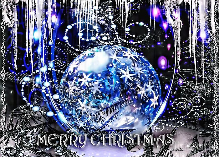 Merry Christmas Greeting Card featuring the digital art Merry Christmas by Mo T