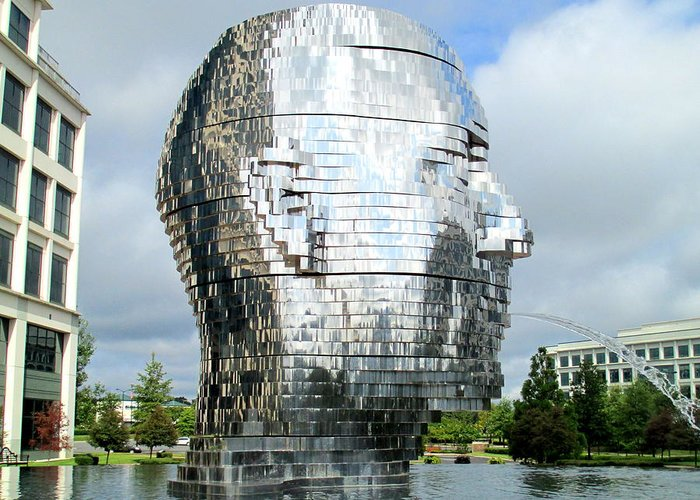 Sculpture Greeting Card featuring the photograph Metalmorphosis Side Context by Randall Weidner