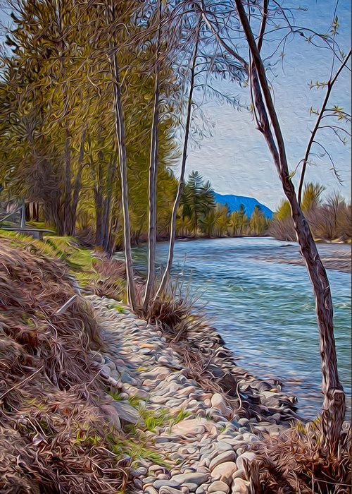 North Cascades Greeting Card featuring the painting Methow River Coming From Mazama by Omaste Witkowski