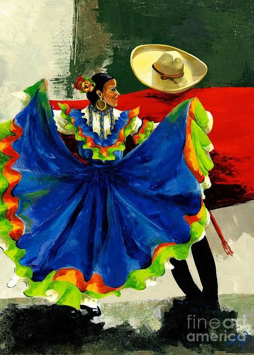 Canvas Prints Greeting Card featuring the painting Mexican Dancers by Elisabeta Hermann
