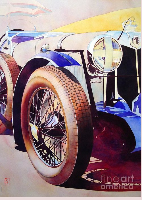 Watercolor Greeting Card featuring the painting MG by Robert Hooper