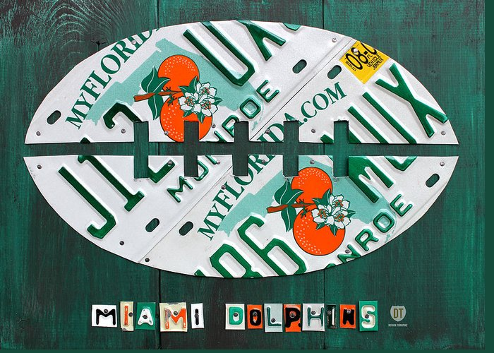 Miami Greeting Card featuring the mixed media Miami Dolphins Football Recycled License Plate Art by Design Turnpike