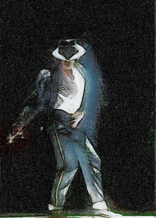 Michael Jackson Greeting Card featuring the painting Michael Jackson by Georgi Dimitrov