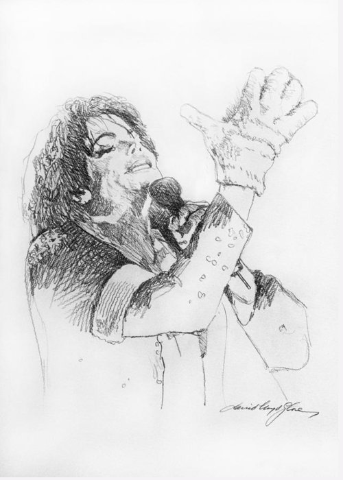 Michael Jackson Greeting Card featuring the painting Michael Jackson Passion Sketch by David Lloyd Glover
