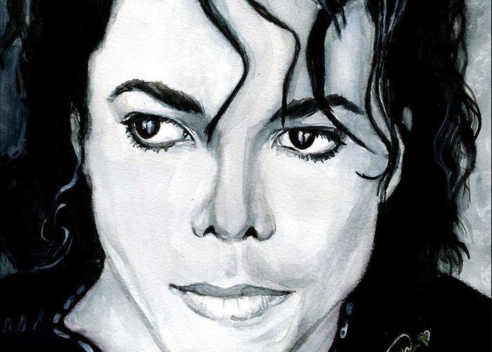 Michael Jackson Greeting Card featuring the painting Michael Jackson Portrait by Alban Dizdari