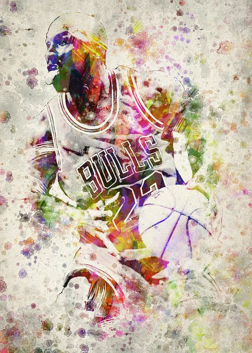Michael Jordan Greeting Card featuring the drawing Michael Jordan by Aged Pixel