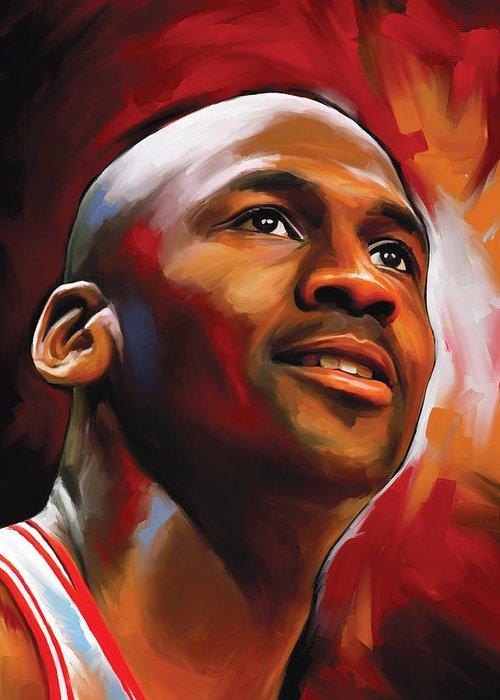 Nba Greeting Card featuring the painting Michael Jordan Artwork 2 by Sheraz A