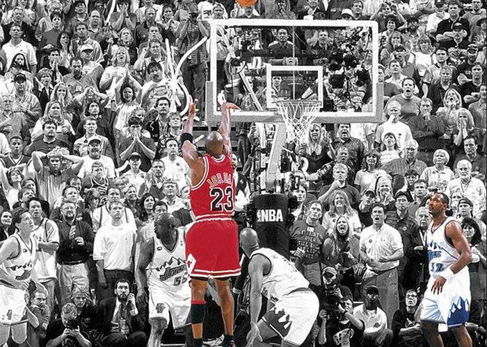 Michael Jordan Greeting Card featuring the mixed media Michael Jordan Buzzer Beater by Brian Reaves