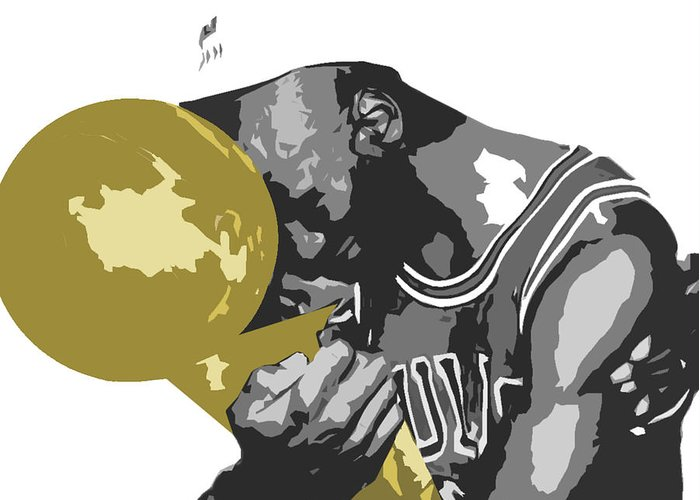 Chicago Greeting Card featuring the digital art Michael Jordan by Mike Maher
