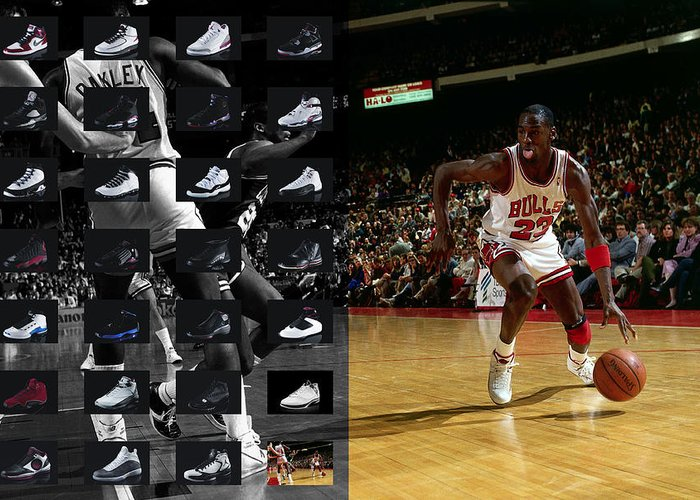 Michael Jordan Greeting Card featuring the photograph Michael Jordan Shoes by Joe Hamilton