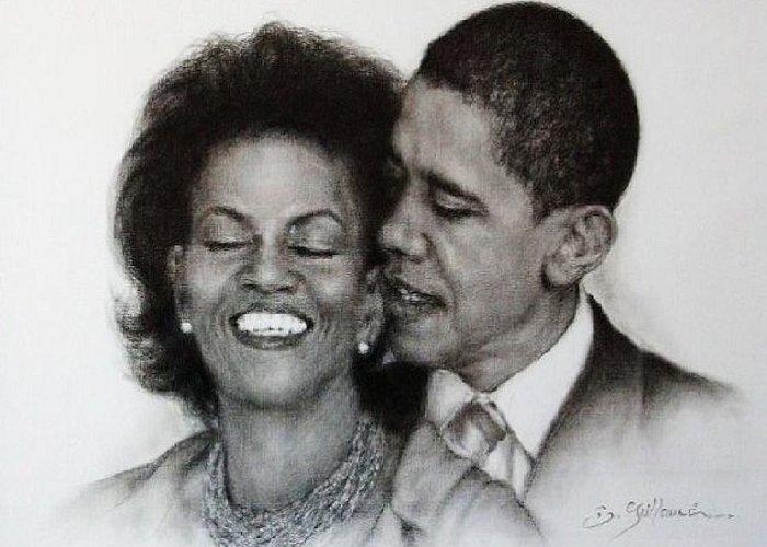Michelle Et Barack Obama Greeting Card featuring the drawing Michelle Et Barack Obama by Guillaume Bruno