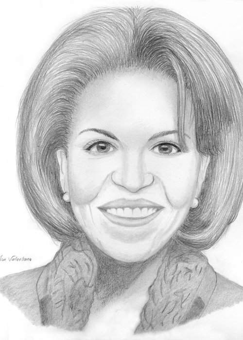 Michelle Obama Greeting Card featuring the drawing Michelle Obama by M Valeriano
