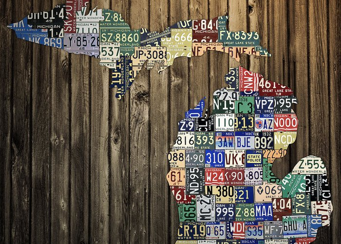Michigan Greeting Card featuring the mixed media Michigan Counties State License Plate Map by Design Turnpike