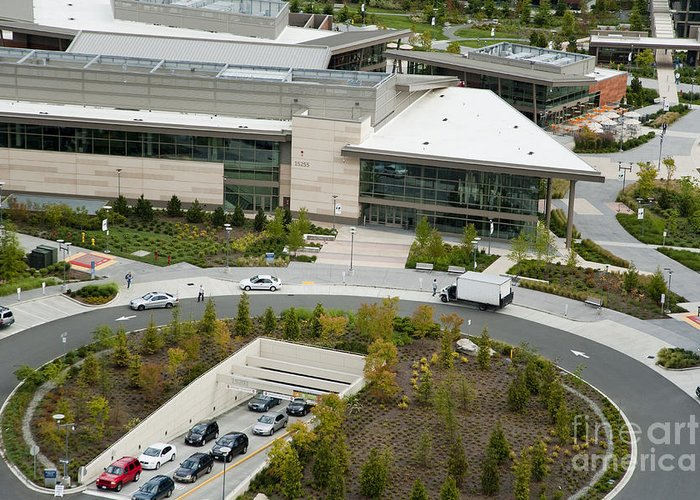 America Greeting Card featuring the photograph Microsoft Corporate Headquarter's West Campus Redmond Wa by Andrew Buchanan via Latitude Image