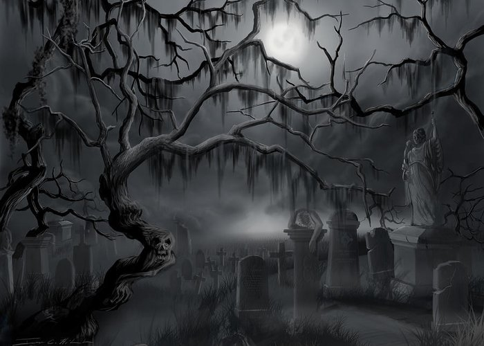 Landscape Greeting Card featuring the painting Midnight In The Graveyard by James Christopher Hill