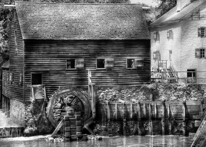 Savad Greeting Card featuring the photograph Mill - Sleepy Hollow Ny - By The Mill by Mike Savad
