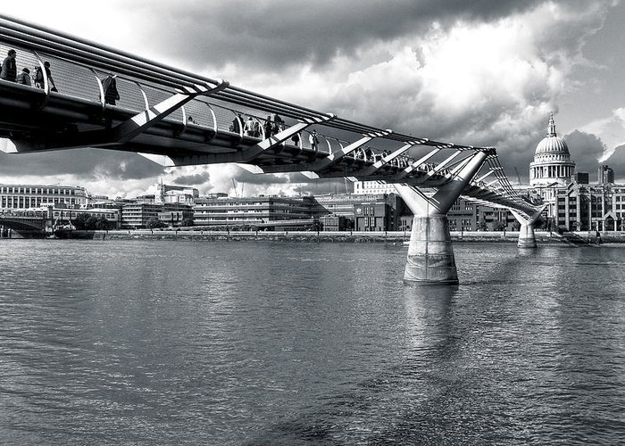 St Paul's Cathedral Greeting Card featuring the photograph Millennium Foot Bridge - London by Mark E Tisdale