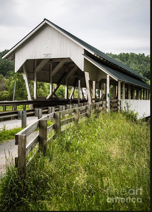 Covered Greeting Card featuring the photograph Millers Run Covered Bridge by Edward Fielding